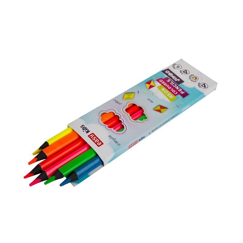 5cfd2f714 EASY - Trojhranné pastelky NEON 6 farieb, 5 mm - farbičky - pastelky ...