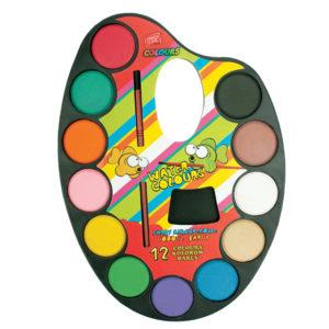EASY - Vodové farby - maliarska paleta 12 farieb - vodové farby - anilinove farby - vodovky - vodove farby anilinove - vodove farby pre deti - anilinove vodove farby