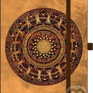 Zápisník zlatý s kruhovým vzorom - zápisník - diár - zápisníček - zošitok - zápisník santoro - zápisník aneke - darček k meninám - učiteľský zápisník - denník