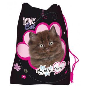 MAJEWSKI - Vrecko na prezúvky MLF Cat -  vrecko na prezúvky - študentský vak so šnúrkami - vak so šnúrkami na chrbát - vrecka na prezuvky - vrecka na chrbat - gymsack - vaky na chrbat - vrecúška na chrbát
