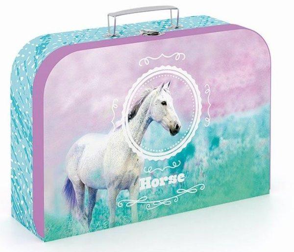 Kufrík na výtvarné potreby - Kufrík do školy - KARTON PP - Kufrík biely kôň 34cm