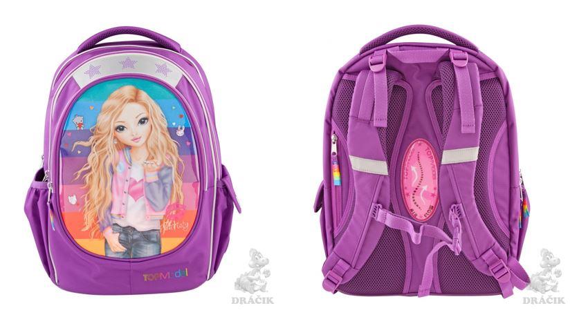 odľahčená školská taška, školská taška pre dievčatá, školská taška top models, fialová školská taška, školská aktovka TOP MODEL, školská taška Depesche