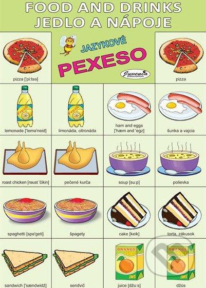 Jazykové pexeso: Food and Drinks / Jedlo a nápoje - jazykové pexeso - pexeso angličtina - pexeso nemčina - pexeso na učenie cudzích jazykov - ako deti učiť cudzie jazyky - ako deti učiť slovíčka v cudzích jazykoch
