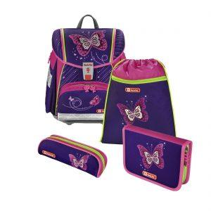 Hama Step by Step – 4-dielna súprava Touch 2 s certifikátom AGR Trblietavý motýľ - školské tašky pre prvákov sety -  školské aktovky pre prvákov sety -  školská taška pre prváka set -  školské potreby pre prváka -  aktovky pre prvákov -  školské batohy pre prvákov