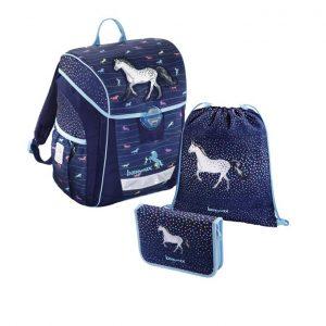 Hama Baggymax Džínový koník – 3-dielna súprava - školské tašky pre prvákov sety -  školské aktovky pre prvákov sety -  školská taška pre prváka set -  školské potreby pre prváka -  aktovky pre prvákov -  školské batohy pre prvákov