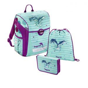 Hama Baggymax Trikky Delfíny – 3-dielna súprava - školské tašky pre prvákov sety -  školské aktovky pre prvákov sety -  školská taška pre prváka set -  školské potreby pre prváka -  aktovky pre prvákov -  školské batohy pre prvákov