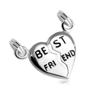 """Strieborný 925 dvojprívesok rozpoleného srdca s nápisom """"BEST FRIEND"""" -  darček pre bff -  bff náramky -  trička bff -  naramky pre kamaratky -  best friends nahrdelnik -  náramky best friends forever -  naramky pre najlepsie kamaratky -  privesky priatelstva -  best friends privesok -  prívesky best friends -  bff nahrdelniky lacne -  retiazky best friends -  nahrdelniky pre dvoch best friends -  best friends naramky na predaj -  bff nahrdelniky na predaj -  bff naramky na predaj -  best friends prívesky -  nahrdelnik bff na predaj -  rozpolene srdce privesok -  náhrdelníky priateľstva -  retiazky priatelstva -  náhrdelníky pre kamarátky -  privesky pre najlepsie kamaratky"""